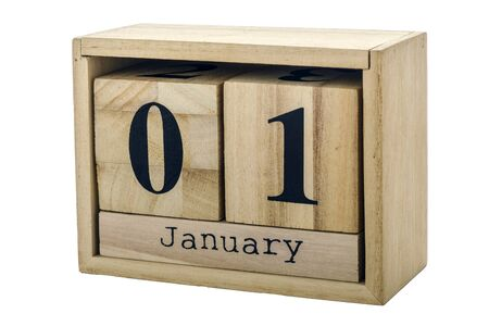 Planner wooden cube with numbers, 1 day of the month of January, winter isolated on white background.