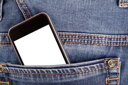 Mock up with smartphone in back jeans pocket. Blank space for your advertising or text on display. Close up view, horizontal orientation Stock fotó