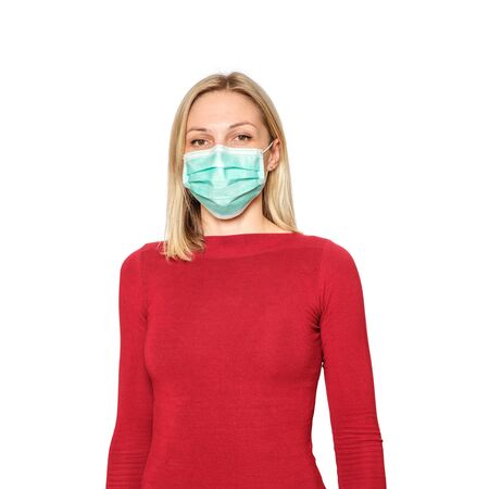 Portrait young caucasian female wears surgical mask. virus outbreak precautions. isolated on white background