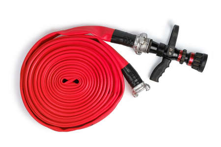 Red rolled firefighter hose isolated on the white background. Flat Lay, top view Stock fotó