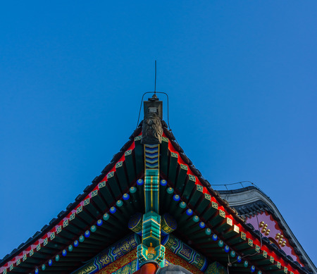 song dynasty: Building eaves is the typical part in ancient Chinese architectures. The complex structures and systems of brackets are built by the standards of Song dynasty and Qing dynasty. Stock Photo