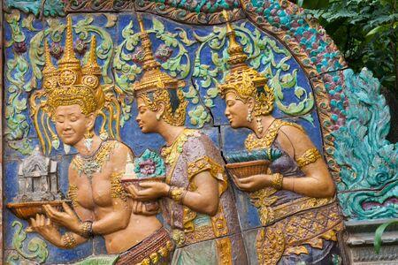 siem reap: decoration in Agkor Thom, Siem Reap, Cambodia Editorial