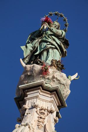 obelisk: Obelisk, detail Place del Ges� Nuovo, Naples., Italy