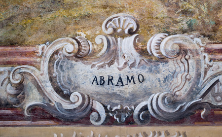 Detail of name  in church in Naples , Italy Banque d'images
