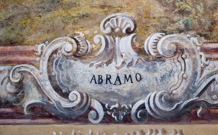 Détail du nom à l'église de Naples, Italie