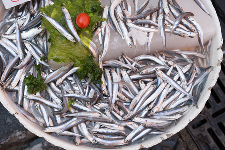 fish vendor: anchovies, mediterranean fish at market in Naples, Italy Stock Photo