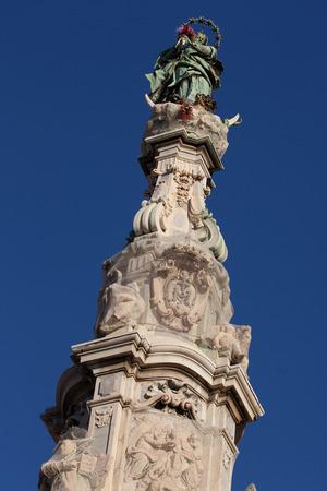 obelisk: Obelisk, detail Place del Gesù Nuovo, Naples., Italy Stock Photo