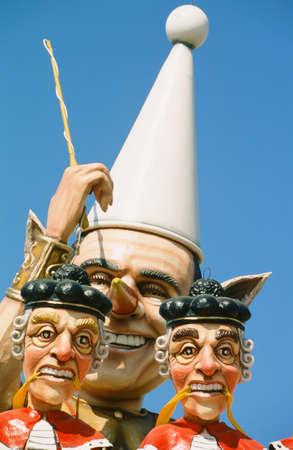 allegoric: Viareggio, Carnival with mask of politics and judges Stock Photo