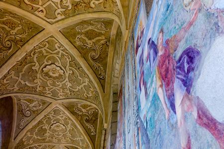 Cloister of St. Chiara church and monastery, Naples, Italy