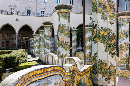 Cloister of St. Chiara church and monastery, Naples, Italy