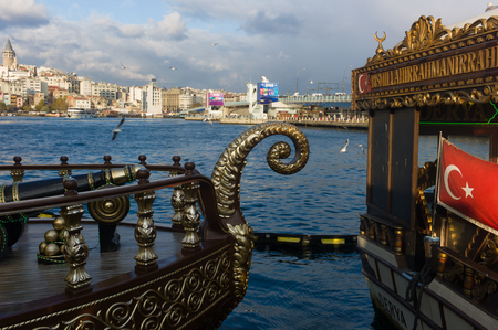Landscape at Kadikoy, pier on Bosphorus, Istanbul Turkey