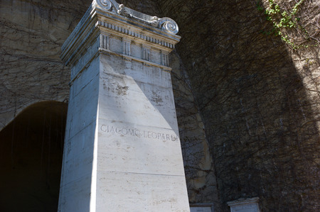 virgil: grave of Giacomo Leopardi in Naples, Italian poet, near the tomb of Virgil