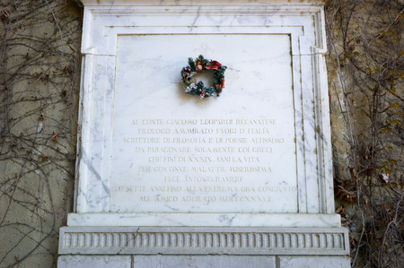 virgil: grave of Giacomo Leopardi in Naples, Italian poet, near the tomb of Virgil