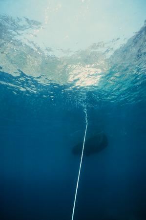 hawser: Underwater seascape of an hawser linked to anchor, mediterrean sea Stock Photo