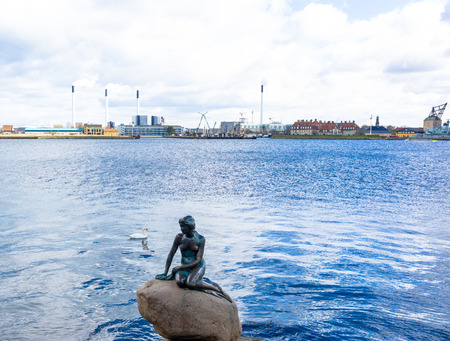 naked statue: The little mermaid,the statue symbol of Copenhagen