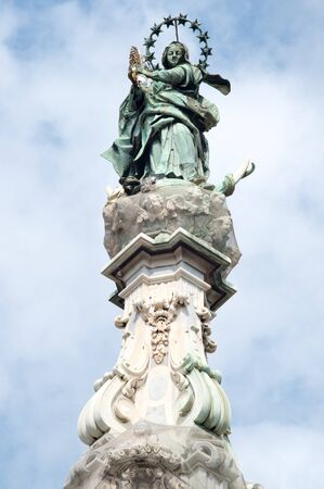 obelisk: Obelisk, detail Place del Gesù Nuovo, Naples., Italy