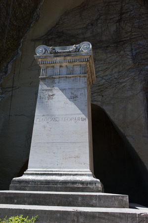 writer's block: grave of Giacomo Leopardi in Naples Italian poet near the tomb of Virgil