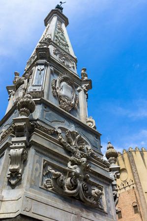San Domenico Maggiore square, whit its caratheristic obelisk naples Stock Photo