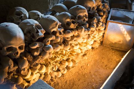 catacomb: Skulls in Fontanel cemetery, Sanità quarter Naples