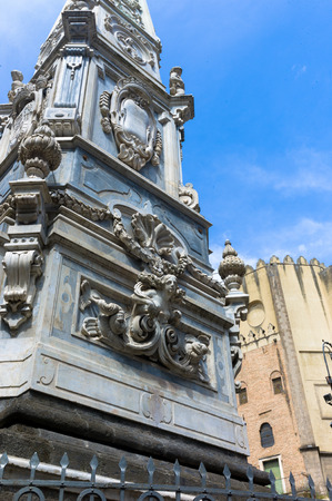 obelisk: San Domenico Maggiore square, whit its caratheristic obelisk naples Editorial