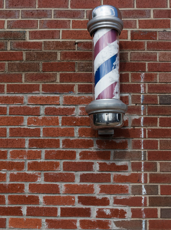 white pole: Old fashioned  banner of barber shop, USA