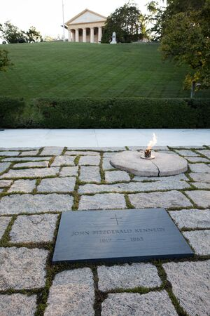Kennedy: The memorial of JF Kennedy in Arlington cemetery, Washington
