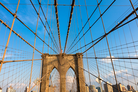 boroughs: The Brooklyn Bridge is a hybrid cable-stayedsuspension bridge in New York City and is one of the oldest bridges of either type in the United States. Completed in 1883, it connects the boroughs of Manhattan and Brooklyn by spanning the East River. It has
