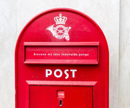 letterbox: Traditional red letterbox in Copenhagen, Denmark