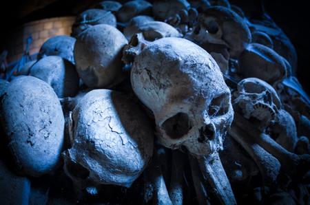 'dark ages': dark ages,skulls in cemetery, Naples