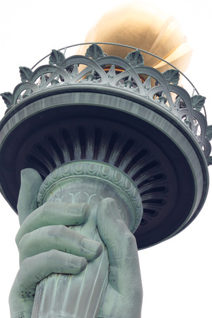 colossal: The Statue of Liberty is a colossal copper statue, designed by  Auguste Bartholdi, a French sculptor, was built by Gustave Eiffel Stock Photo