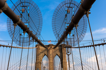 boroughs: The Brooklyn Bridge in New York City  is one of the oldest bridges  in the United States. Completed in 1883, it connects the boroughs of Manhattan and Brooklyn.