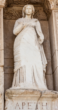 virtue: Arete statue, symbol of virtue, in the library of Celsus  ain Ephesus, Turkye Stock Photo