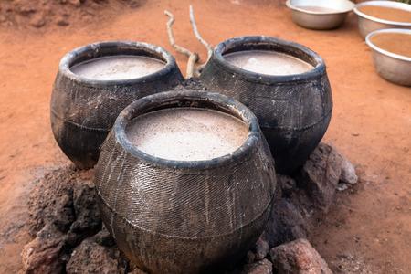 casks: Casks of millet beer, Burkina Faso Stock Photo