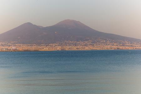 Napoli: Panorama of Naples, Napoli,Italy at sunset. Stock Photo