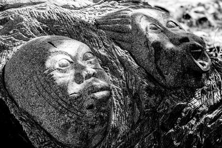 heros: November 2015, Ouagadougou, Burkina Faso. Loango Sculpture Park in  showcases over 170 sculptures made by 18 sculptors of  13 countries. Stock Photo