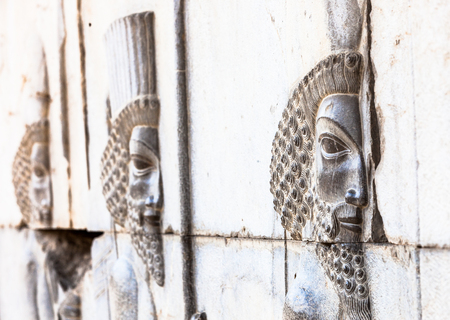 shiraz: Bas-relief in Persepolis, ancient archeological site near Shiraz, Iran Editorial