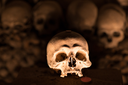 catacomb: Ossuary in Naples in which are buried victims of plague and cholera Stock Photo