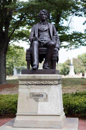 harvard university: August 2015 Cambridge, Massachusetts, USA.  statue of Sumner in Harvard University.