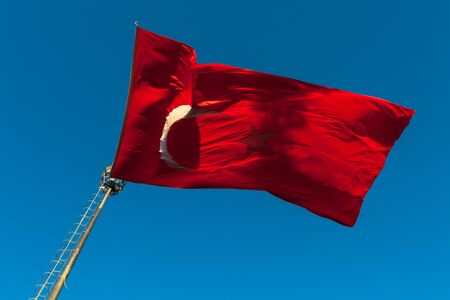 wind force: The flag of Turkye under the force of the wind