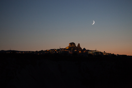 a nocturne: Village in Cappadocia, Cavusin at sunset, Turkey, Turkey