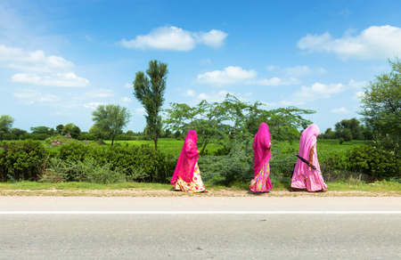 veiled: Veiled women in pink under the sun in Rajasthan