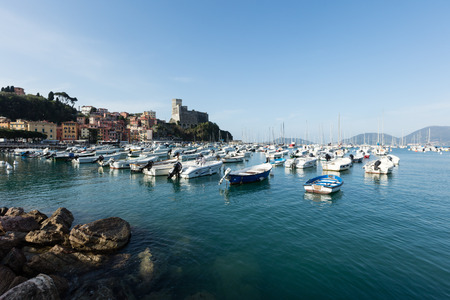 spezia: Lerici, Italy - April  4, 2016: view of port.  Lerici is very famous for the old castle and the port Editorial