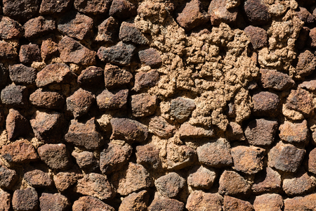 porous brick: Backround of wall of brick in tuff and stone Stock Photo