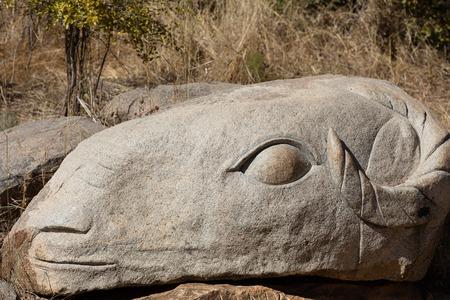 heros: November 2015, Ouagadougou, Burkina Faso. Loango Sculpture Park in  showcases over 170 sculptures made by 18 sculptors of  13 countries. Editorial
