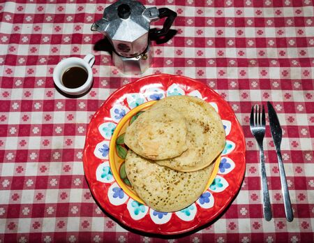 neapolitan: Italian brakfast with homemade pancakes, neapolitan coffee and maple syrup