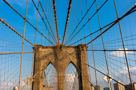 The Brooklyn Bridge in New York City  is one of the oldest bridges  in the United States. Completed in 1883, it connects the boroughs of Manhattan and Brooklyn.