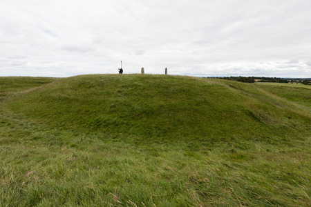 hill of tara: The Hill of Tara, located near the River Boyne, is an archaeological complex that r contains a number of ancient monuments and,was the seat of the High King of Ireland. Stock Photo