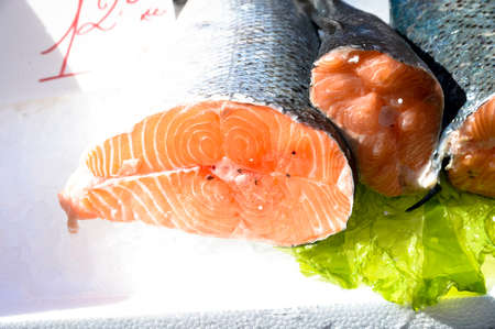 salmonidae: Salmon exposed in street fish market in Italy