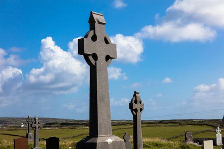 aran: Celtic crosses in cemetery, Aran Islands, Ireland