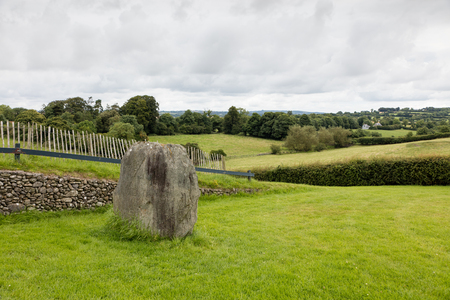 county meath: Newgrange is a Stone Age monument in the Boyne Valley, County Meath,  is best known for the illumination of its passage and chamber by the winter solstice sun Stock Photo